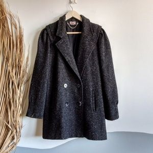 Vintage 80s New York Girl Boucle Pea Coat Black